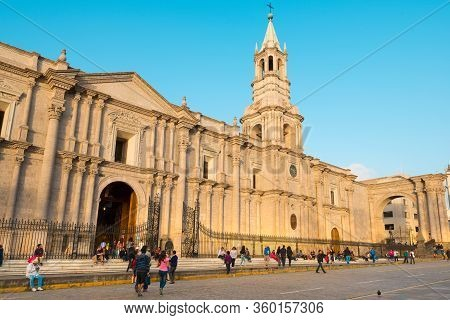 Arequipa, Provincia De Arequipa, Peru- January 28, 2014:  Pople Outside The Cathedral Catedral Basil