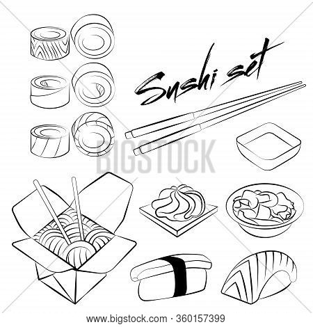 Seth Vector Isolated Nigiri, Sauces, Sushi. Linear, Minimalistic Set. Sushi With Avocado And Salmon,