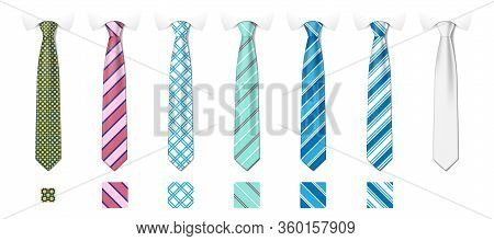 Striped Silk Neckties Templates With Textures Set. Man Colored Tie Set. Tie Mockup With Different Fa