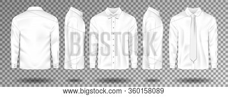 Blank Male White Shirt With Tie And Bow Tie Template Isolated. Realistic Men Shirt With Long Sleeves