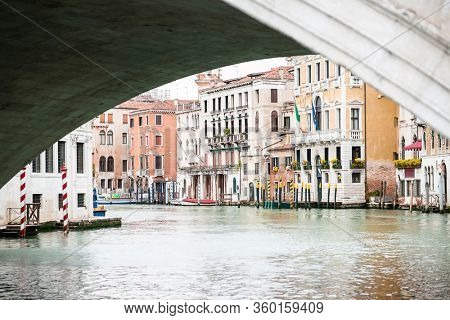 Old Buildings on Grand Canal Under Rialto Bridge in Venice. Italy.