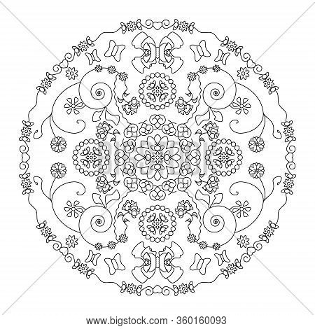 Pretty Butterflies And Flowers. Mandala Coloring Page, Illustration Vector. Art Therapy. Anti-stress