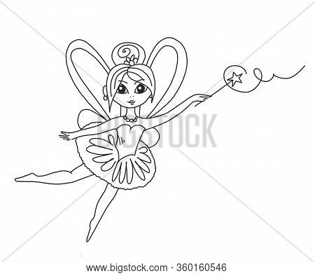 Vector Coloring Book For Children And Adults In Cartoon Style With A Cute Fairy. Beautiful Fairy Wit