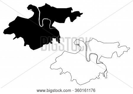 Donostia-san Sebastian City (kingdom Of Spain, Basque Country) Map Vector Illustration, Scribble Ske
