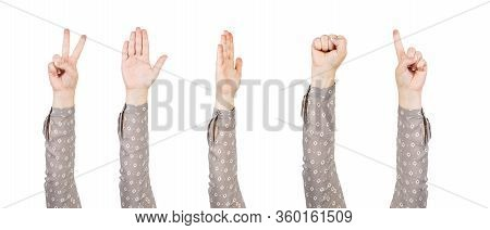 Woman Hands Showing Various Gestures. Clenched Fist, Victory, Voting And Finger Pointing Signs. Huma