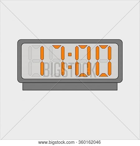 Vector Image Or Picture Of Digital Clock Or Alarm With Orange Figures Showing Time On The Light Grey