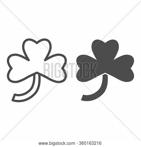 Three Leaf Clover Line And Solid Icon. Irish Shamrock Plant Leaf Outline Style Pictogram On White Ba