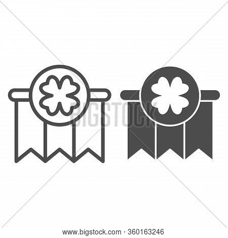 Clover Garland Line And Solid Icon. Celebration With Hanging Garlands And Shamrock Outline Style Pic