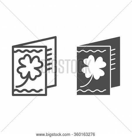 Greeting Card With Clover Line And Solid Icon. Shamrock Flower Poster Outline Style Pictogram On Whi