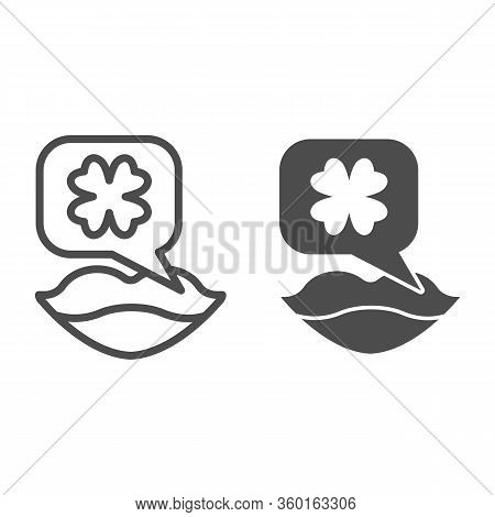 Lips And Clover Line And Solid Icon. Female Mouth And Dialog Bubble With Shamrock Outline Style Pict