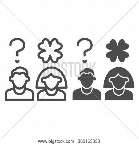 Couple With Clover Line And Solid Icon. Boy And Girl With Question Clover Outline Style Pictogram On