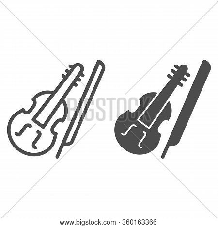 Violin And Bow Line And Solid Icon. Fiddle With Fiddle-bow Outline Style Pictogram On White Backgrou