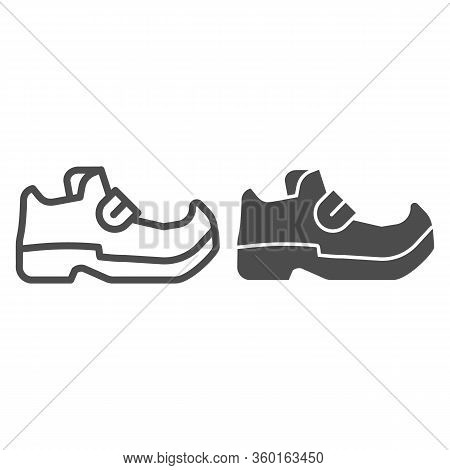 Leprechaun Boots Line And Solid Icon. Shoes With Tapered Socks Outline Style Pictogram On White Back