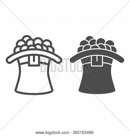 Celtic Hat With Coins Line And Solid Icon. Leprechaun Cap Full With Gold Coin Outline Style Pictogra