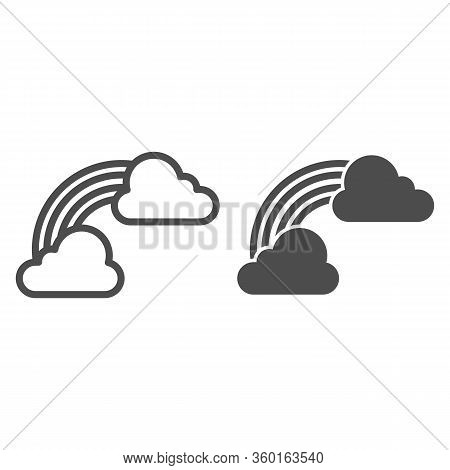 Clouds And Rainbow Line And Solid Icon. Irish St. Patrick Day Symbol Of Luck Outline Style Pictogram