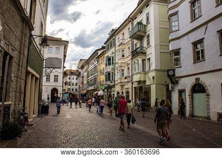 Bolzano, Italy - August 13, 2019: People Walking Along Via Della Mostra, Bolzano (bozen).
