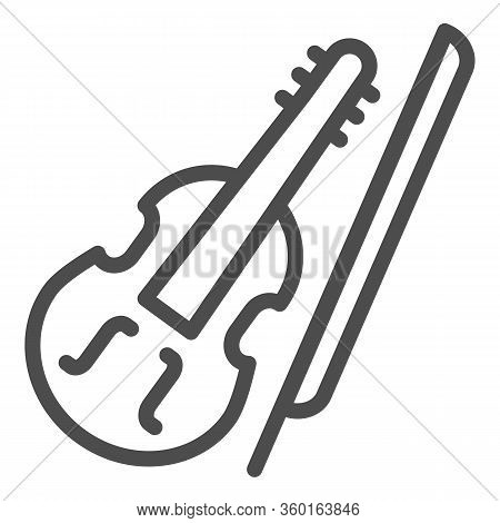 Violin And Bow Line Icon. Fiddle With Fiddle-bow Outline Style Pictogram On White Background. Musica