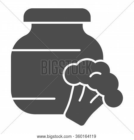Stewed Cabbage And Broccoli Solid Icon. Glass Canned Jar And Cabbage Glyph Style Pictogram On White