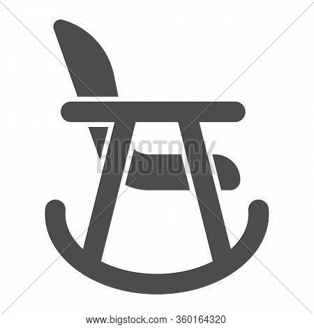 Rocker Chair Solid Icon. Wood Nursing Rocker Stool For Rest Glyph Style Pictogram On White Backgroun
