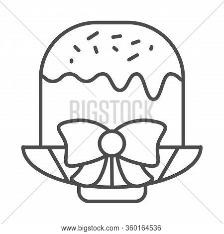 Easter Cake On Plate With Bow Thin Line Icon. Traditional Paschal Dessert With Glace Outline Style P