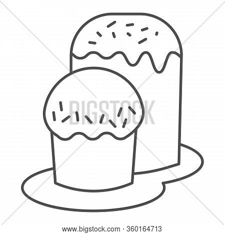 Two Easter Bread On Plate Thin Line Icon. Traditional Paschal Dessert Outline Style Pictogram On Whi