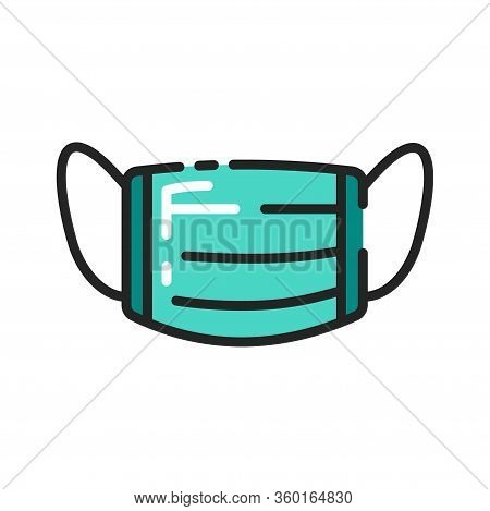 Breathing Medical Respiratory Mask Color Line Icon. Health Care. Hospital Or Pollution Protect Face