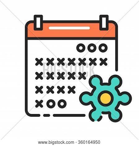 Quarantine Color Line Icon. Self- Isolation, Period. Calendar With Crossed Period And Virus. Pictogr