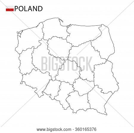 Poland Map, Black And White Detailed Outline Regions Of The Country.