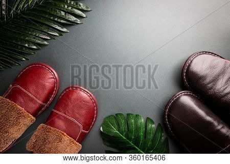 Leather Home Slippers On Black Background. Soft Comfortable Home Slipper. Stay At Home Concepts.