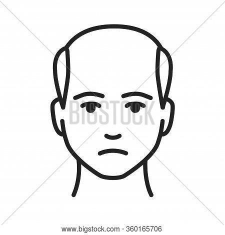 Man With A Bald Head Black Line Icon. Baldness Stage. Alopecia. Editable Stroke.