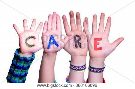 Children Hands Building Word Care, Isolated Background
