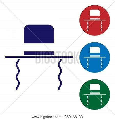 Blue Orthodox Jewish Hat With Sidelocks Icon Isolated On White Background. Jewish Men In The Traditi