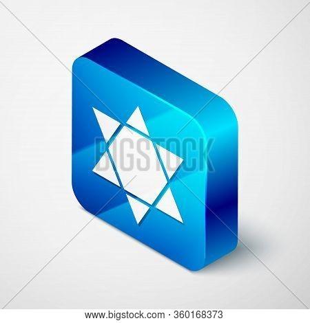 Isometric Star Of David Icon Isolated On Grey Background. Jewish Religion Symbol. Symbol Of Israel.