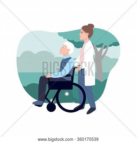 An Elderly Woman With Her Granddaughter Is Looking Out The Window. Colorful Vector Illustration Care