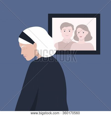 Vector Illustration An Elderly Woman Mourns The Loss Of Her Beloved Husband. The Emotion Of Grief, S