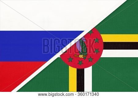 Russia Or Russian Federation Vs Commonwealth Of Dominica National Flag From Textile. Relationship, P