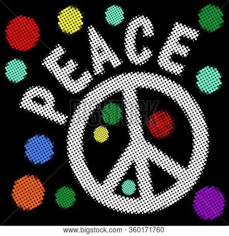 Halftone Peace Banner With Hippies Anti War Symbol And Halftone Patterned Rainbow Circles. Retro Sty