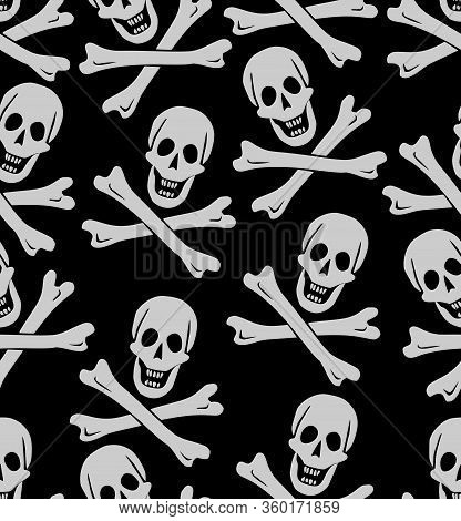Skull And Crossed Bones, Pirate Symbol, Seamless Pattern, White Drawing On Black Background, Textil