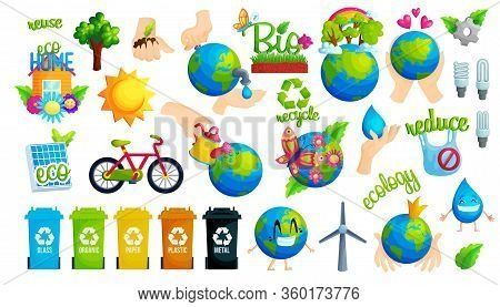 Ecology Protection Idea Flat Vector Illustration Set. Collection Of Ecological Stickers. Reuse, Recy