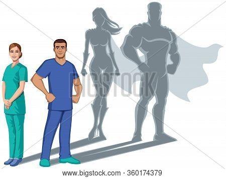 Male And Female Registered Nurses Casting Superhero Shadows, On White Background.