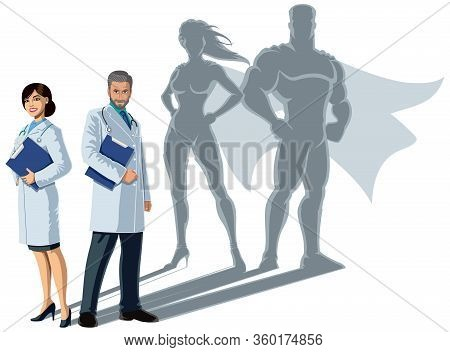 Male And Female Medical Doctors Casting Superhero Shadows, On White Background.