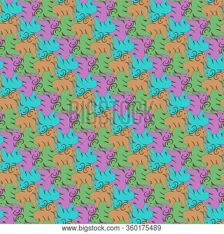 Abstract Multicolored Elephants Seamless Pattern, Tessellation. Vector Illustration Eps 10