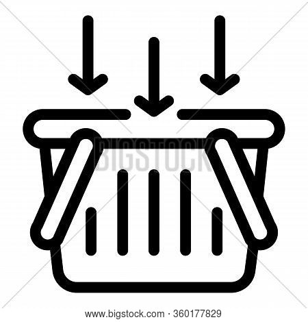 Put In Shop Basket Icon. Outline Put In Shop Basket Vector Icon For Web Design Isolated On White Bac