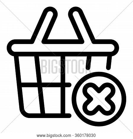 Shop Basket Restriction Icon. Outline Shop Basket Restriction Vector Icon For Web Design Isolated On