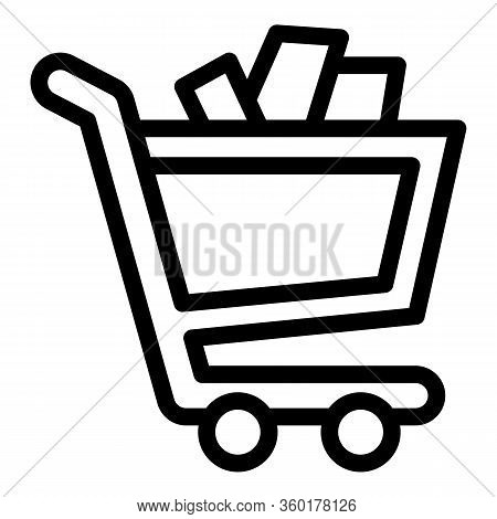 Full Mall Shop Cart Icon. Outline Full Mall Shop Cart Vector Icon For Web Design Isolated On White B