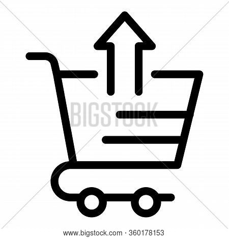 Shop Cart Upload Icon. Outline Shop Cart Upload Vector Icon For Web Design Isolated On White Backgro