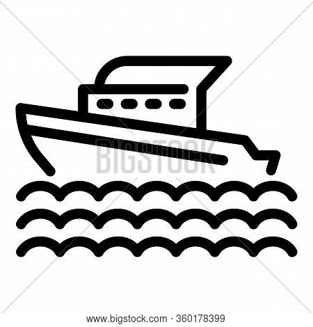 Marine Cruise Ship Icon. Outline Marine Cruise Ship Vector Icon For Web Design Isolated On White Bac