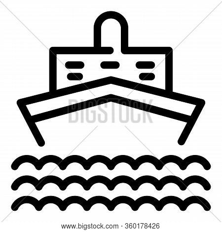 Naval Cruise Ship Icon. Outline Naval Cruise Ship Vector Icon For Web Design Isolated On White Backg