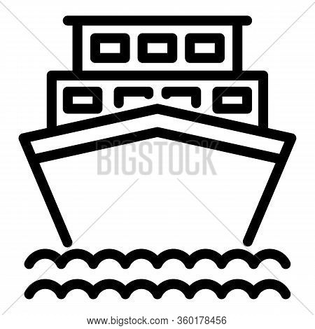 Vacation Cruise Ship Icon. Outline Vacation Cruise Ship Vector Icon For Web Design Isolated On White