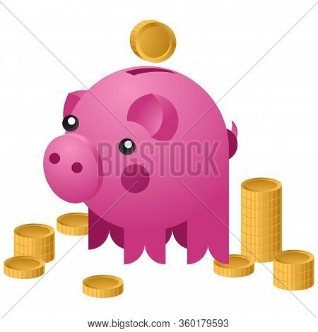 Moneybox In The Form Of Ceramic Pig With A Coins Falling Into It. Concept Of Saving Money. Vector Il